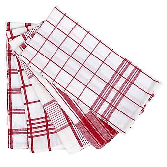 5 Pack Tea Towel 50x70cm Red