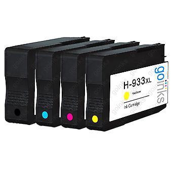 1 Go Inks Compatible Set of 4 ter vervanging van HP 932 Printer Ink Cartridges (4 Inkten) - Zwart, Cyaan, Magenta, Geel Compatibel / niet-OEM voor HP Officejet Printers
