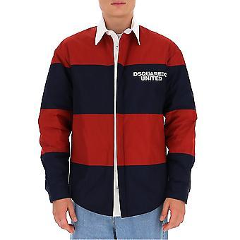 Dsquared2 S74dm0406s47858962 Män's Blå/röd bomullsskjorta