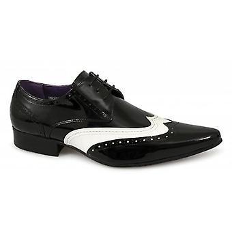 Gucinari Tamino Mens Brogue Patent Shoes Black & White