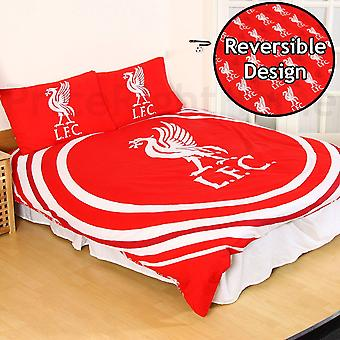 Liverpool FC Official Reversible Double Duvet And Pillowcase Set Pulse Design