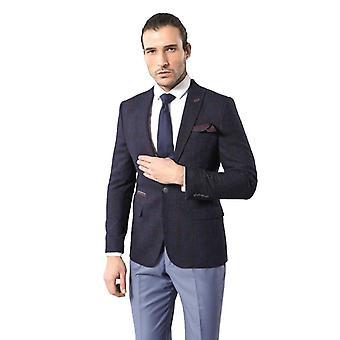 Checked peak lapel slim fit blazer | wessi