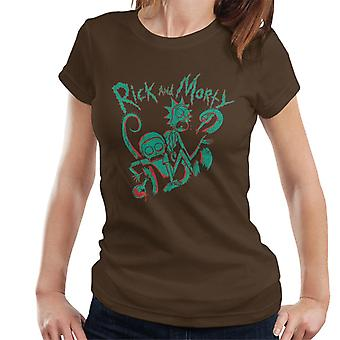 Rick e Morty Green Stencil Disegno Donne's T-Shirt