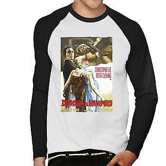ハンマーホラー映画ドラキュラ保持犠牲者イタリアの男性&アポ;s野球ロングスリーブTシャツ