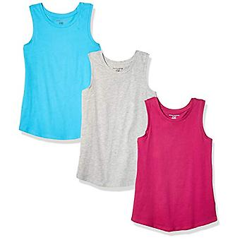 Essentials    Girls' 3-Pack Tank Top, Cyan/Fuchsia/Heather Grey 2T