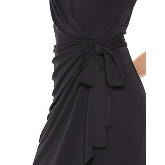 Brand - Lark & Ro Women's Cap Sleeve Bateau Neck Wrap Dress, Black 4