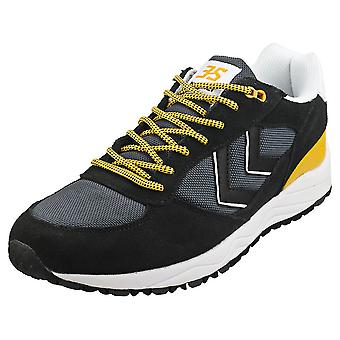 hummel 3-s Hike Mens Casual Trainers in Black White Yellow
