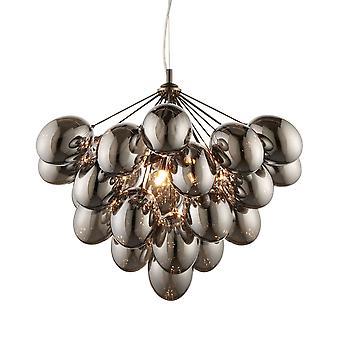 Endon Collection  Infinity 6 Light Dark Chromed Glass Pendant