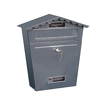 Lockable Secure Mail Letter Vintage Stainless Steel Metal Mailbox - Garden Ornament Retro Wall-mounted Mailbox Home Decor