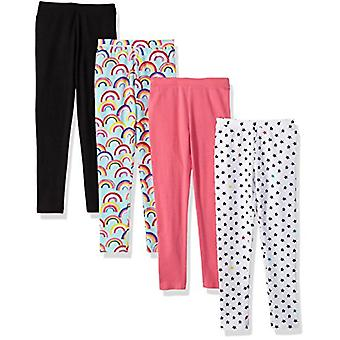 Brand - Spotted Zebra Little Girls' 4-Pack Leggings, Rainbows/Stars, X...