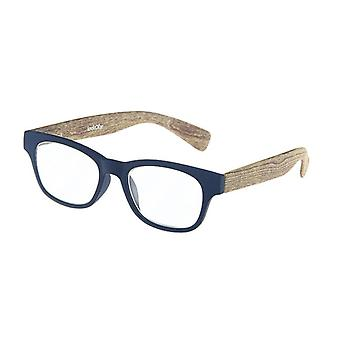 Reading Glasses Unisex Wood Blue/Brown Strength +1.00 (le-0166B)