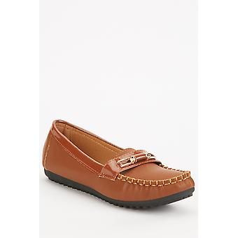 Faux Leather Front Detail Loafers