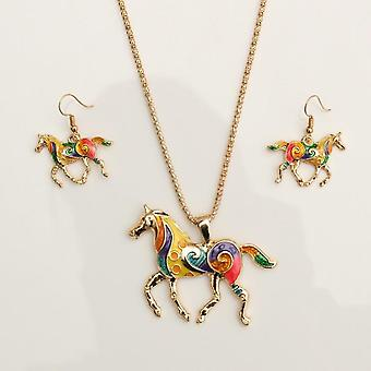 Set of colorful horse jewelry + earrings