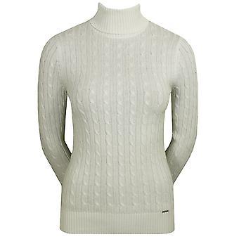 Superdry naiset's croyde kaapeli rulla kaula valkoinen pusero