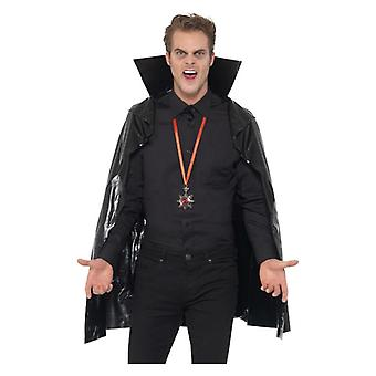 Mens Black Vampire Cape with Stand Up Collar Halloween Fancy Dress