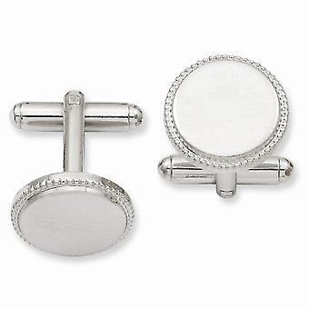 Solid Satin graverbar (endast fram) Rhodium pläterad Florentined Round Beaded Manschett Länkar Smycken Gåvor för män