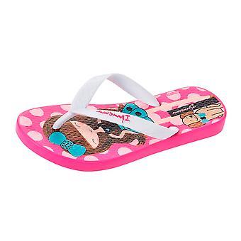 Ipanema Dotty Girls Beach Flip Flops / Sandals - Pink and White