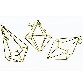 Gold 9cm Metall geometrische Diamant Weihnachten Bauble zu dekorieren