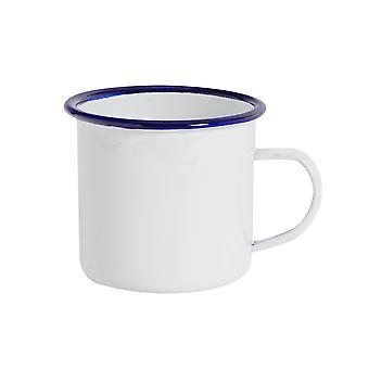 Argon Tableware Premium White Enamel Tea / Coffee Mugs - 380ml - Blue Trim