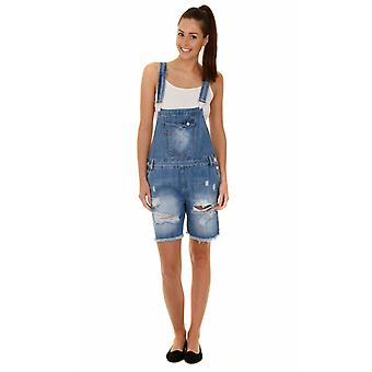 Relaxed fit dungaree shorts - destroyed denim ladies bib overall shorts