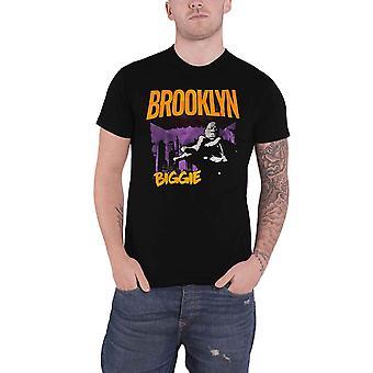 Biggie Smalls تي قميص بروكلين أورانج الشعار الجديد رجال الرسمية السوداء