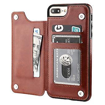 Stuff Certified® Retro iPhone 8 Leather Flip Case Wallet - Wallet Cover Cas Case Brown