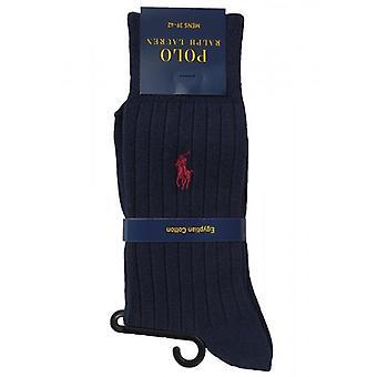 Ralph Lauren Polo Sokken 1 paar Mens Navy Egyptisch katoen