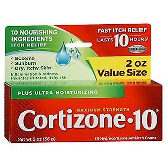 Cortizone-10 Plus أقصى قوة 1% هيدروكورتيزون المضاد للحكة مرطب كريم، 2 أوقية