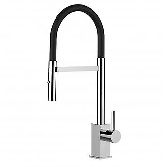 Single-lever Kitchen Sink Mixer With Black Spout And 2 Jets Shower - 96