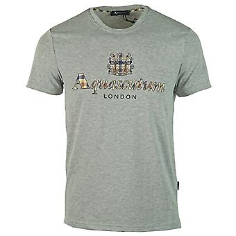 Aquascutum Signature Check Logo Grey T-Shirt