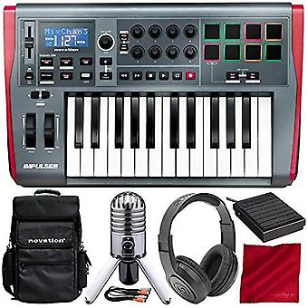 Novation impulse 25 usb midi controller keyboard, 25 keys with gig bag, microphone & headphones deluxe bundle