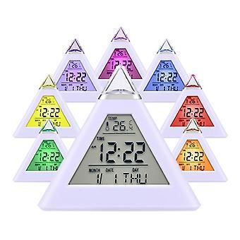 Horloge d'alarme numérique en forme pyramidale avec 7 leds changeants de couleur - horloge d'alarme de pyramide
