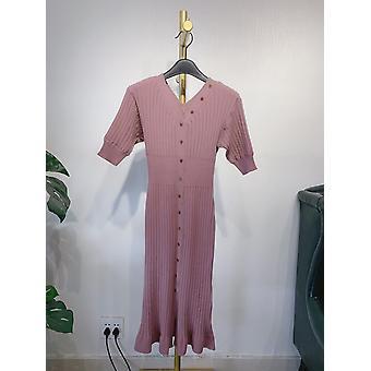 French Long Slim Fringed Knit Short Sleeve Joker Split Tail V-neck Dress