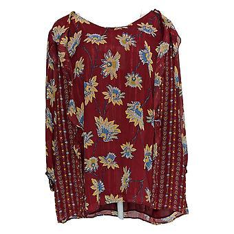 Belle by Kim Gravel Women's Plus Top Blouson Sleeve Ruffle Red A355046