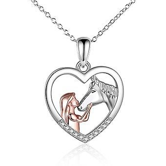 YFN Rose Gold Girl and Horse Necklace for Girls Sterling Silver Jewellery