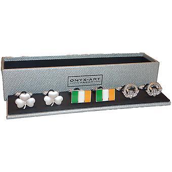 Set of 3 Irish Cufflinks by Onyx Art - Gift Boxed - Shamrock Claddagh Flag Eire