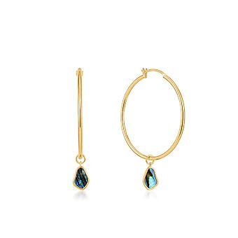 Ania Haie Shiny Gold Tidal Abalone Drop Hoop Earrings E027-05G