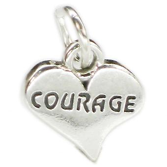 Courage Heart Sterling Silver Charm .925 X 1 Strength And Love Charms - 4021
