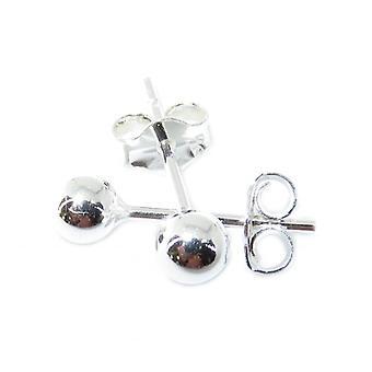 Orecchini per borchie a sfera in argento sterling da 4 mm .925 X 1 coppia Borchie di perline