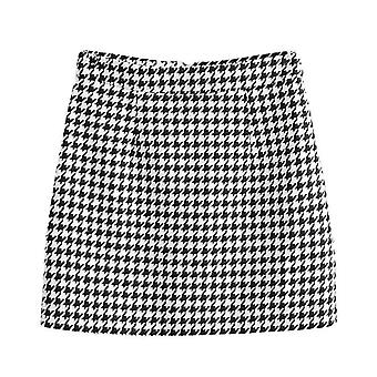 Plaid Office Women's Long Sleeve Short Skirt Suit