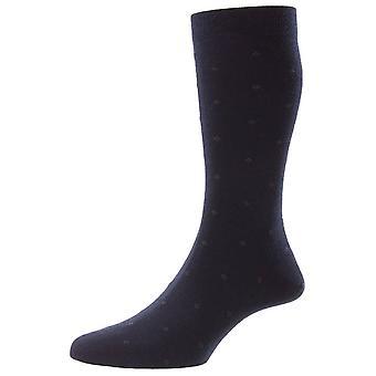Pantherella Durban Neat Motif Merino Wool Socks - Marinha