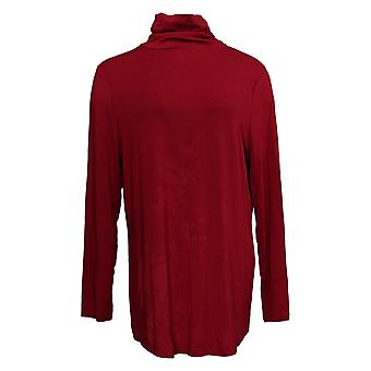 Belle By Kim Gravel Women's Top Modal Spandex Ruched Turtleneck Red A388525