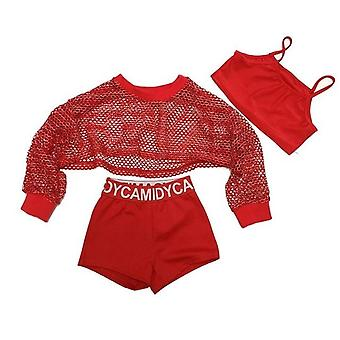 3pcs Red Cool Ballroom Jazz Hip Hop Dance Competition Costume Tank Tops Shorts