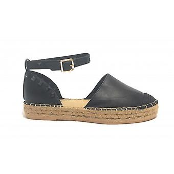 Women's Gold&gold Sandal Black Faux Leather Rope Bottom With Studs Ds19gg36