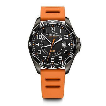 Victorinox Swiss Army 241897 Fieldforce Sport Gmt Black & Orange Rubber Men's Watch