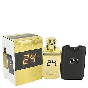 24 Gold The Fragrance Eau De Toilette Spray + 0.8 oz Mini EDT Pocket Spray By Scentstory 3.4 oz Eau De Toilette Spray + 0.8 oz Mini EDT Pocket Spray
