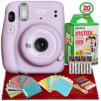Fujifilm instax mini 11 snabbfilmkamera (lila lila) med fujifilm instax mini twin film (20 exponeringar) och tillbehör bunt