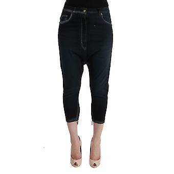Cavalli Black Cotton Stretch Baggy Jeans