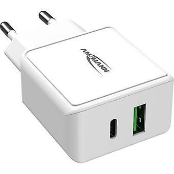 Ansmann HomeCharger HC218PD 1001-0111 USB-laddare Nätuttag Max utgångsström 3000 mA 2 x USB 2.0-port A, USB-C-uttag