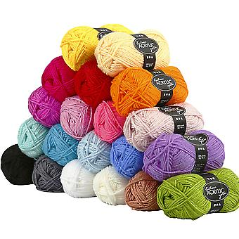 Great Value - 20 Balls of Assorted Craft Wool - 80m per Ball